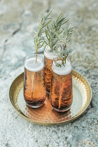 Signature drink with rosemary | Rachel Halsey Photography