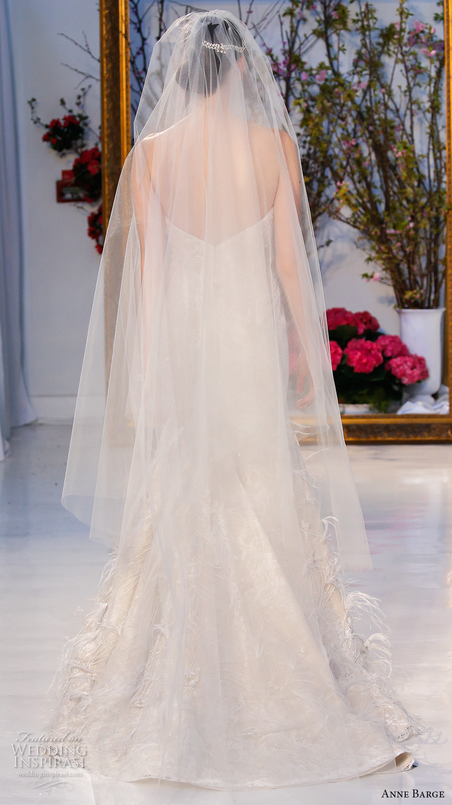 anne barge spring 2017 bridal strapless semi sweetheart neckline fully embellished modified a line wedding dress cathedral train (027) bv