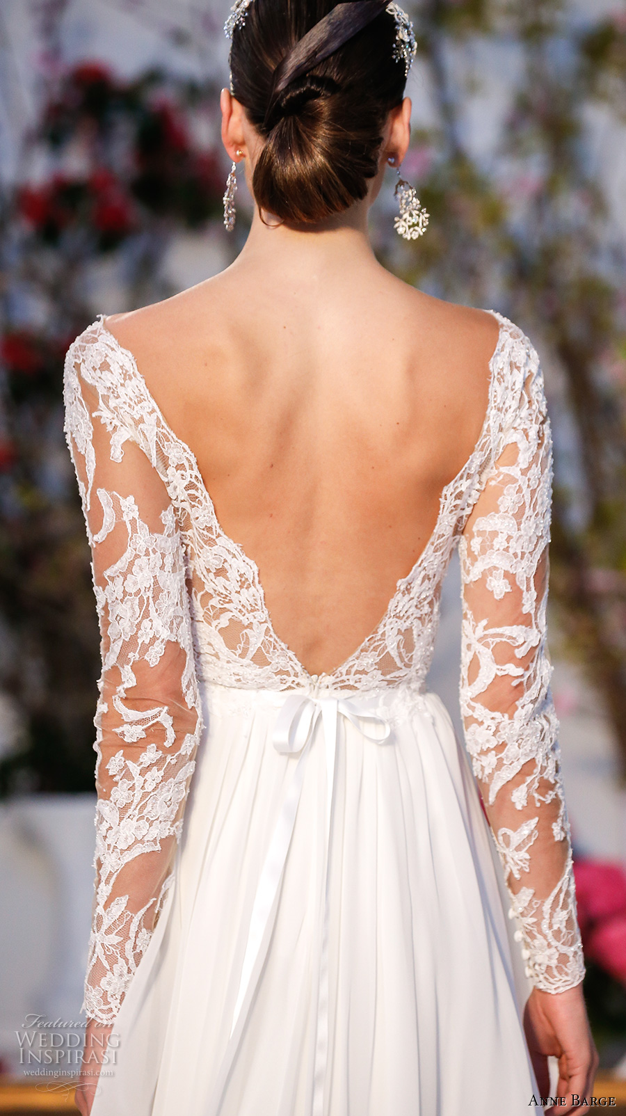 anne barge spring 2017 bridal lace long sleeves plunging v neckline lace embelllished bodice pleated modified a line wedding dress low v back sweep train (024) zbv