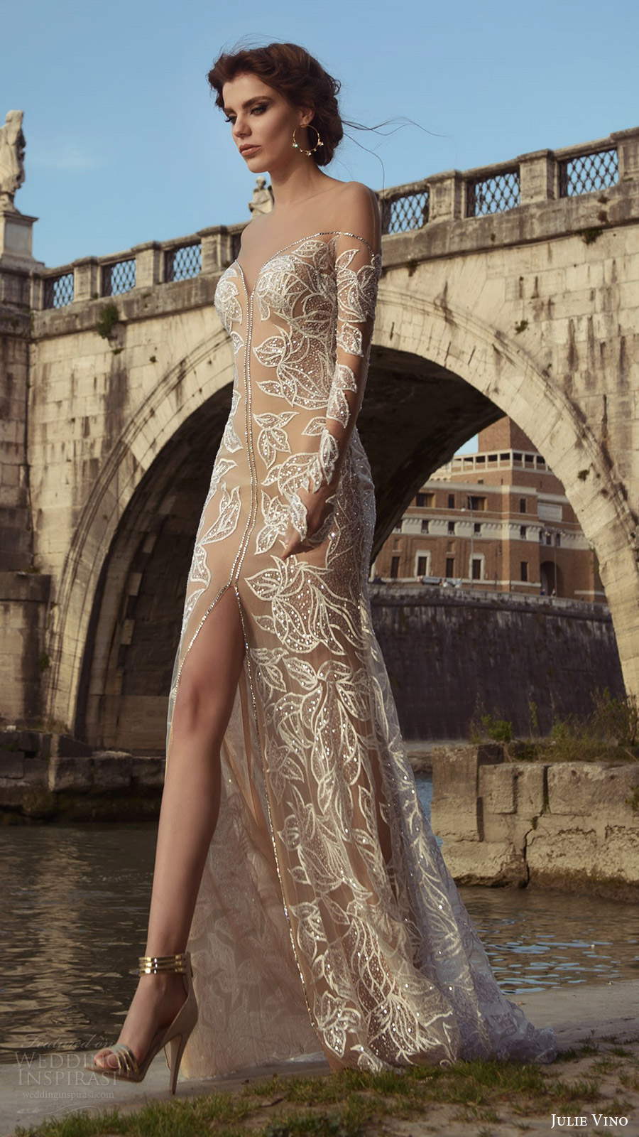 julie vino bridal spring 2017 long sleeves illusion off shoulder beaded sheath wedding dress (tatiana) fv nude color slit skirt