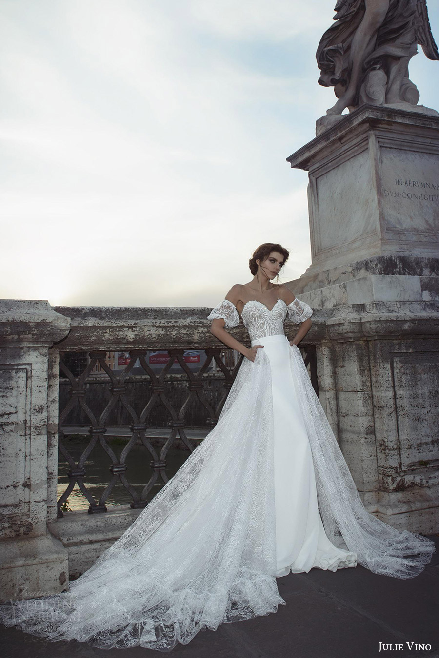 julie vino bridal spring 2017 off shoulder puff sleeves sweetheart sheath wedding dress (valentina) mv aline overskirt