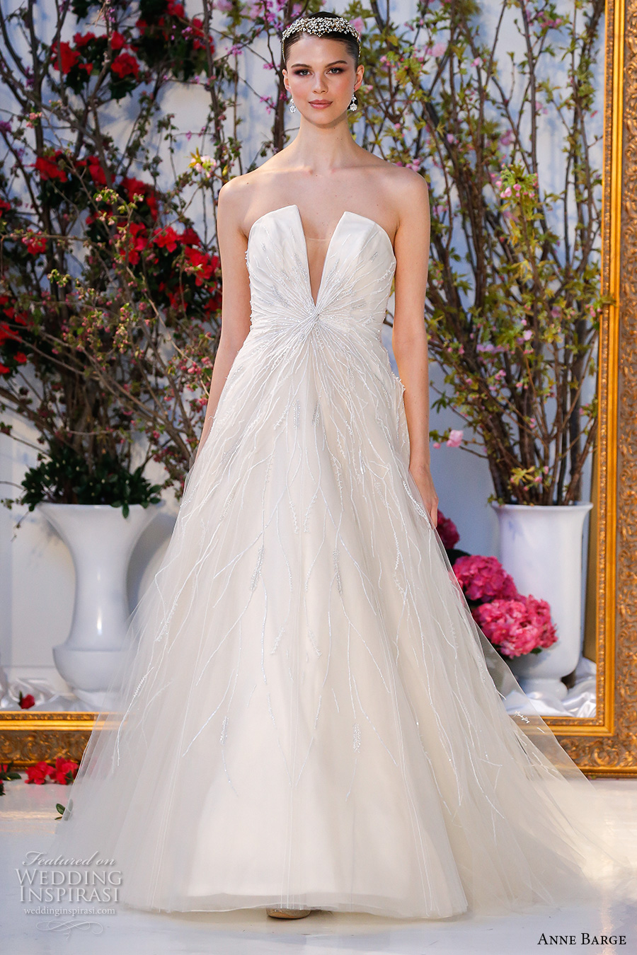 anne barge spring 2017 bridal strapless deep v plunging neckline embellished bodice beautiful a line ball gown wedding dress chapel train (026) mv