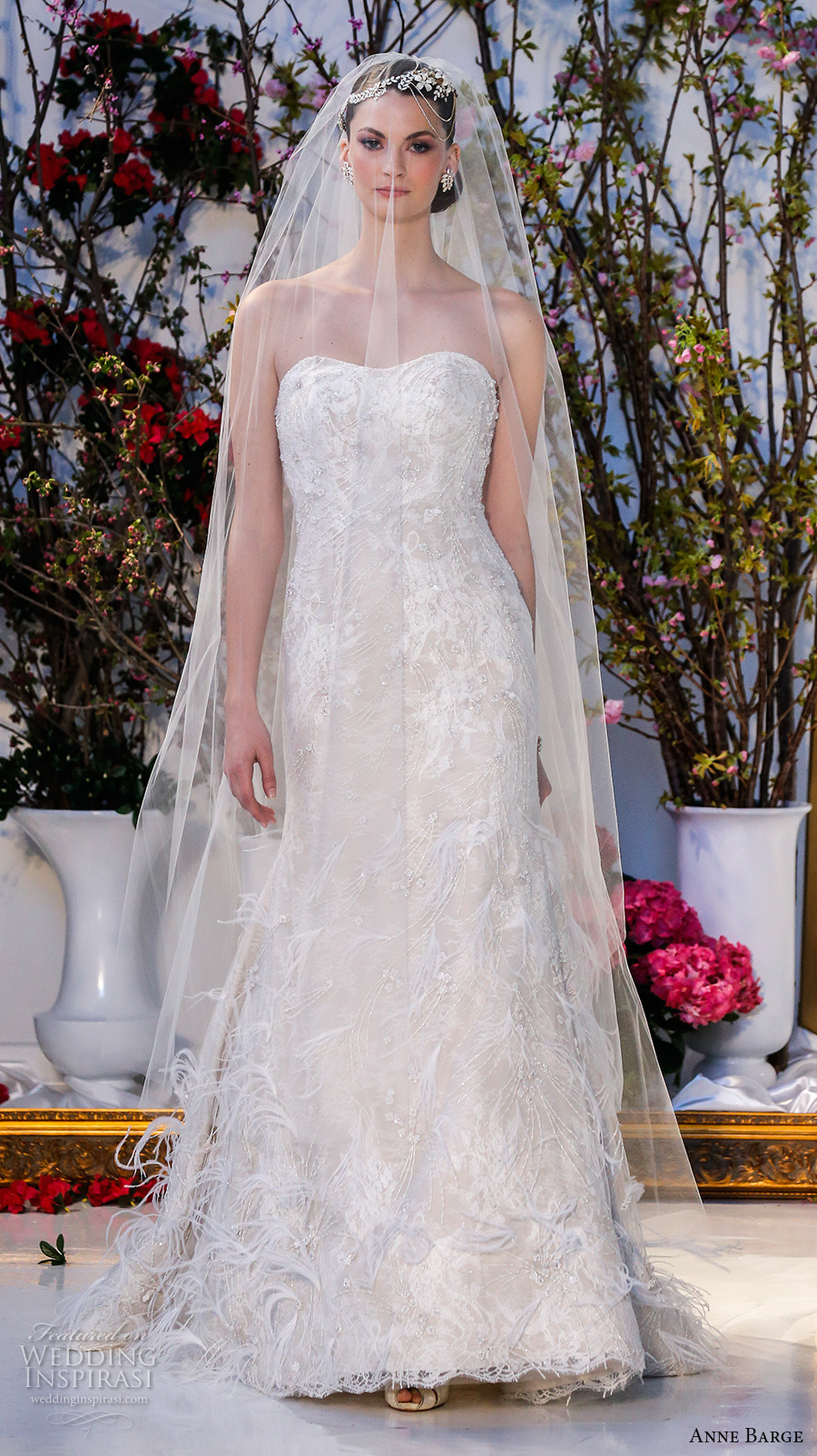 anne barge spring 2017 bridal strapless semi sweetheart neckline fully embellished modified a line wedding dress cathedral train (027) mv