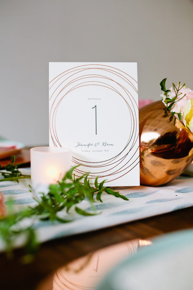 Rose gold table number cards | Betsi Ewing Photography | @AisleSociety and @Minted | #aislesociety #MintedWeddings #ASforMinted #styledbyaislesociety