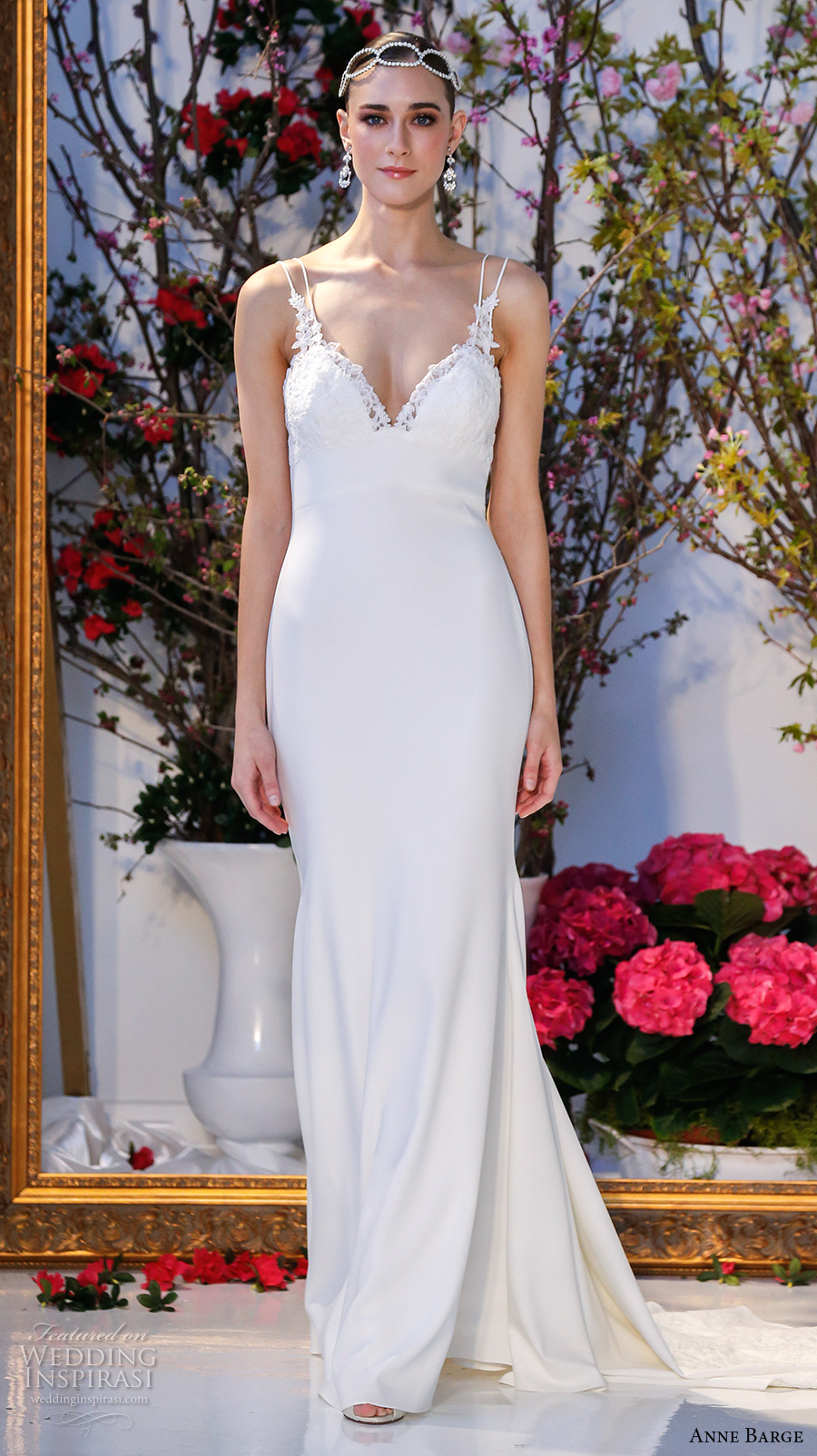 anne barge spring 2017 bridal sleeveless spagetti strap deep sweetheart neckline embellished bodice simple elegant sheath wedding dress low back sweep train (012) mv