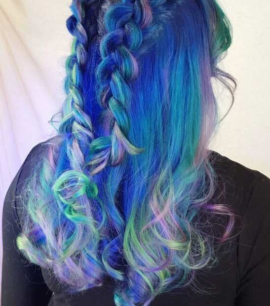 Colorful Mermaid Hair Color Idea