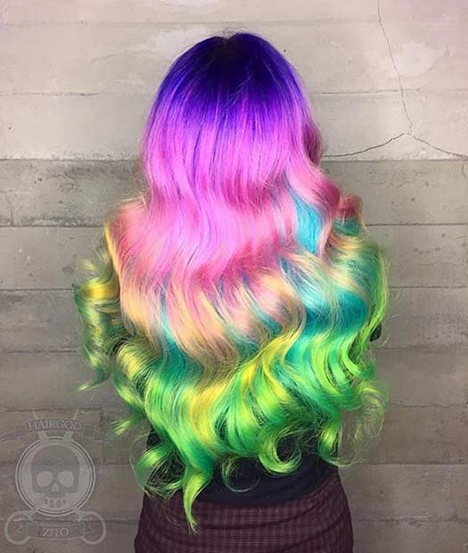 Vibrant Rainbow Hair Idea