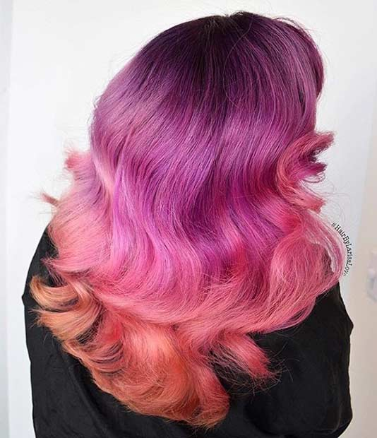 Pink and Orange Hair Color Idea