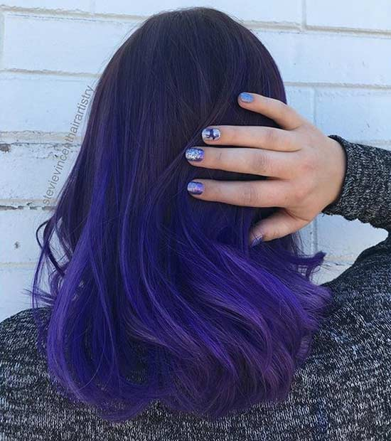 Dark Purple Hair Color Idea