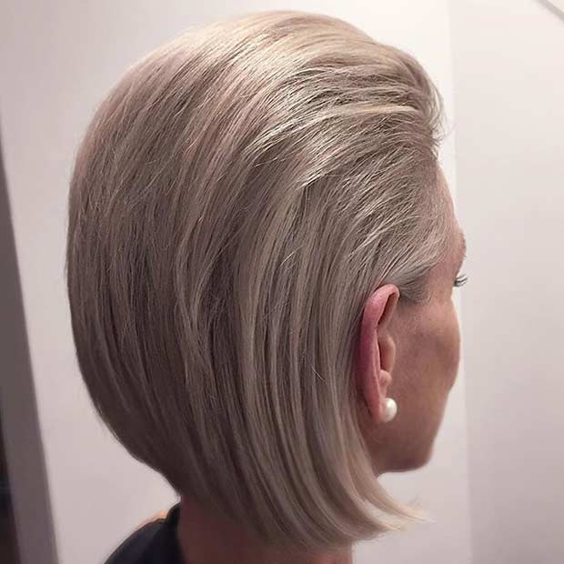 Short Ash Blonde Slicked Back Bob Hairstyle
