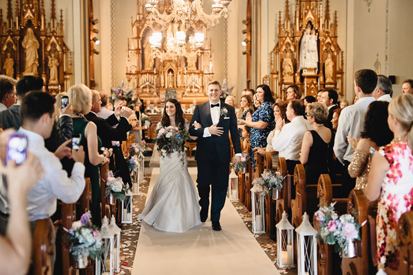 ceremony recessional - photo by Logan Clement Photography http://ruffledblog.com/romantic-iowa-wedding