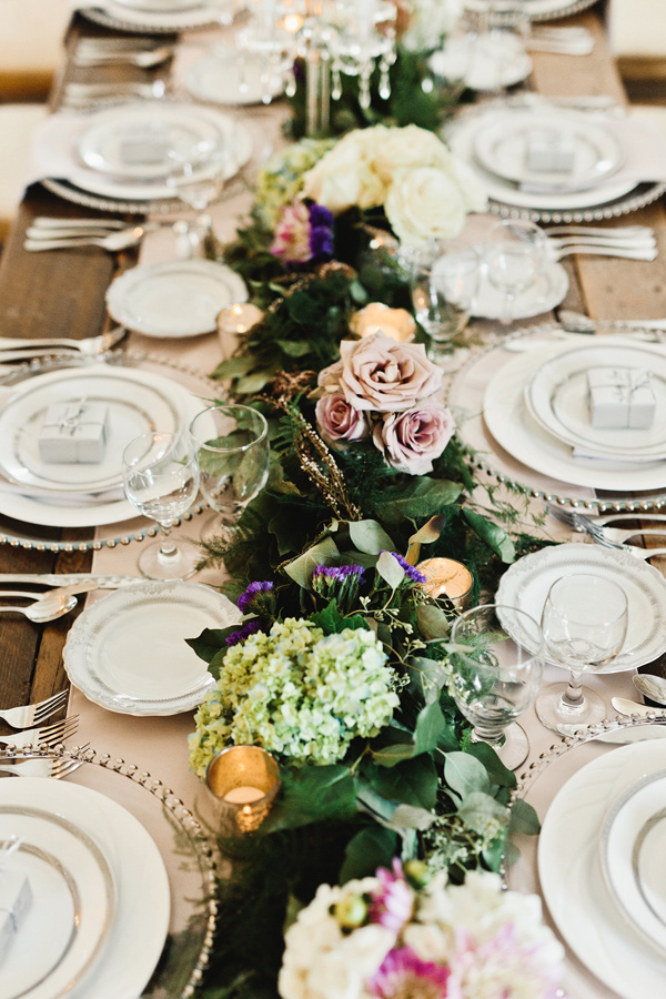 lush tablescape - photo by Logan Clement Photography http://ruffledblog.com/romantic-iowa-wedding