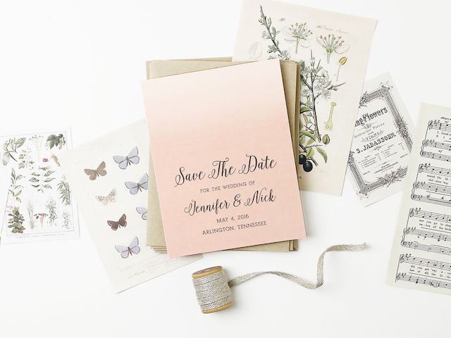 Ombre pink save the date from @basicinvite