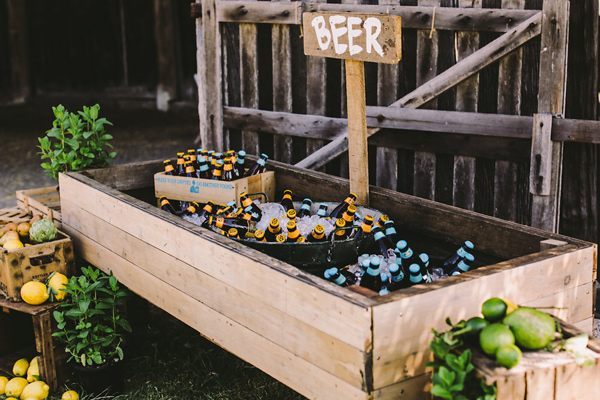 beer sign - photo by Lara Hotz Photography http://ruffledblog.com/botanical-australian-barn-wedding