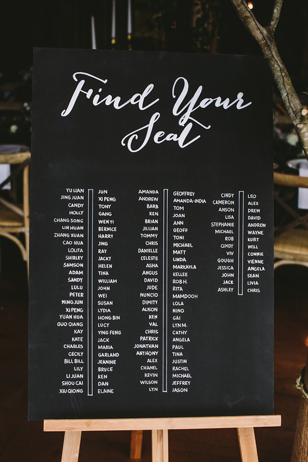 chalkboard seating chart - photo by Lara Hotz Photography http://ruffledblog.com/botanical-australian-barn-wedding