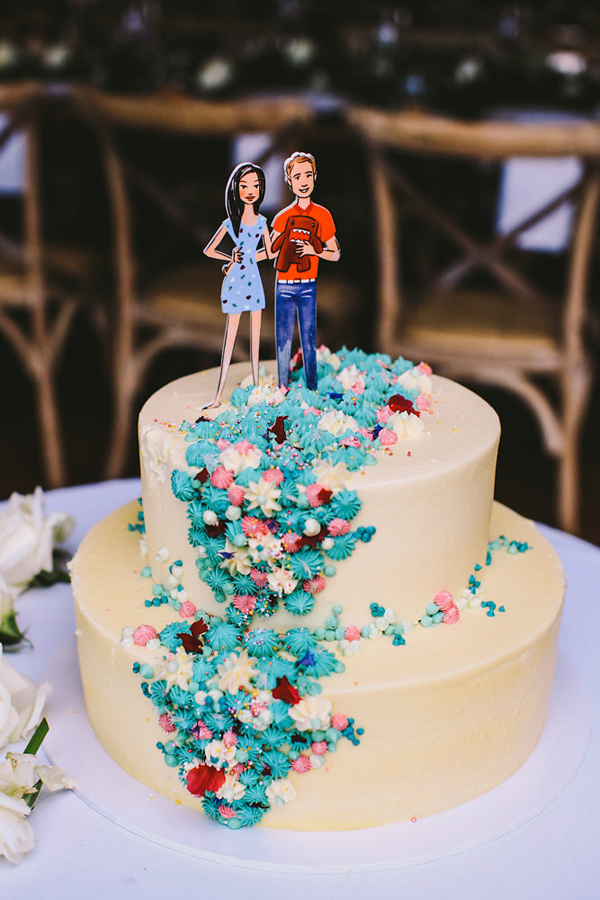 colorful wedding cake - photo by Lara Hotz Photography http://ruffledblog.com/botanical-australian-barn-wedding