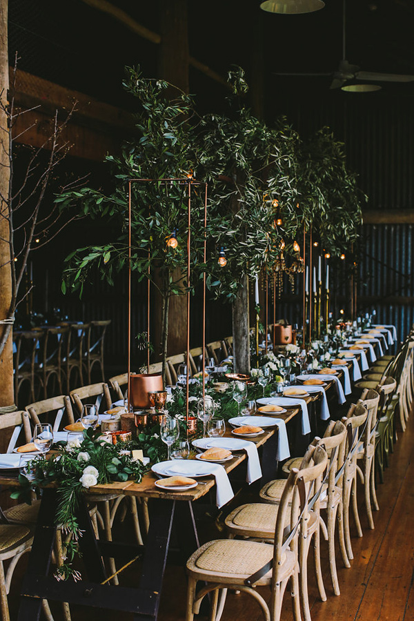 indoor garden reception - photo by Lara Hotz Photography http://ruffledblog.com/botanical-australian-barn-wedding