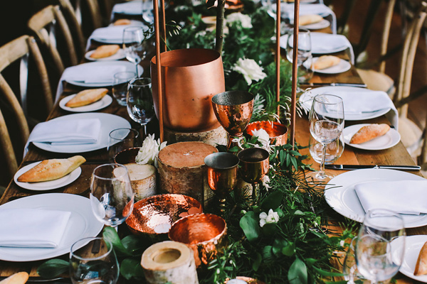 copper tablescape - photo by Lara Hotz Photography http://ruffledblog.com/botanical-australian-barn-wedding