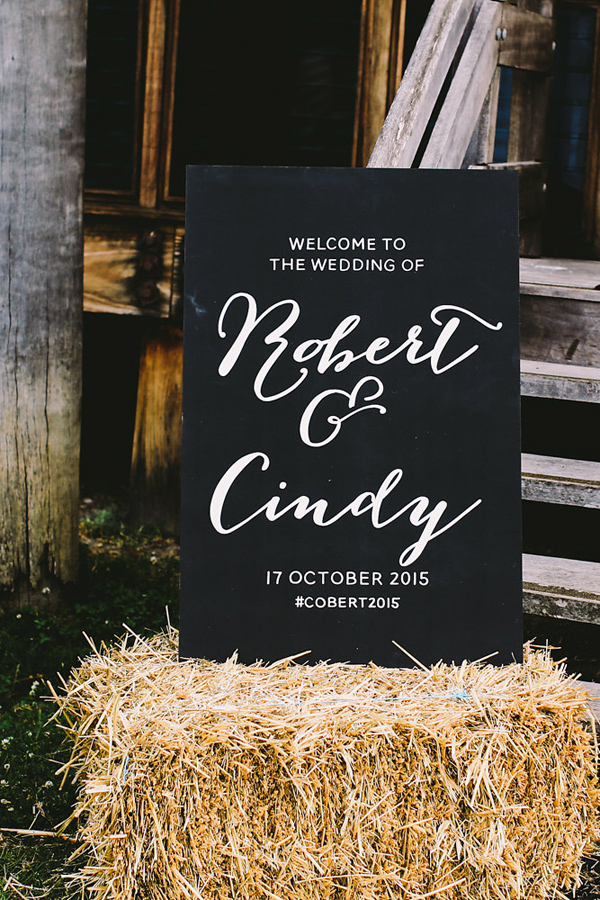 chalkboard wedding sign - photo by Lara Hotz Photography http://ruffledblog.com/botanical-australian-barn-wedding