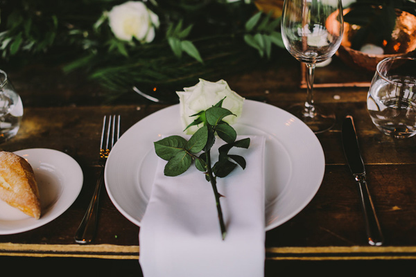 simple place setting - photo by Lara Hotz Photography http://ruffledblog.com/botanical-australian-barn-wedding