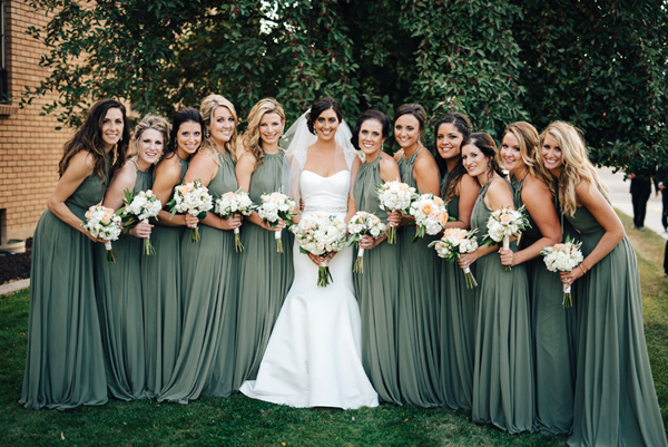 green bridesmaid dresses - photo by Steve Stanton Photography http://ruffledblog.com/greek-inspired-colorado-ranch-wedding