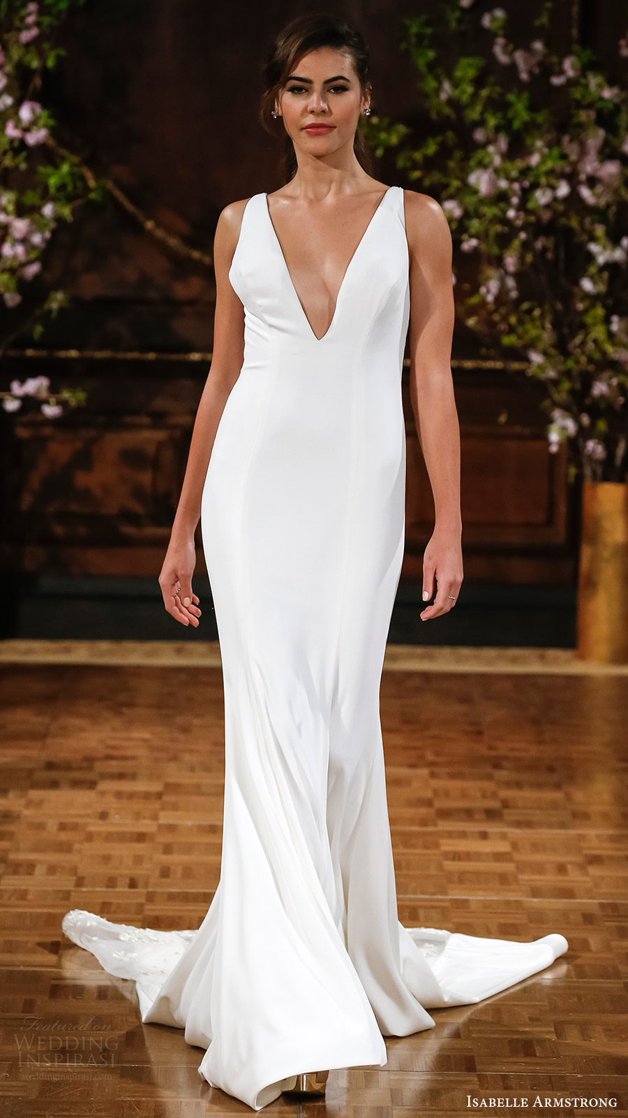 isabelle armstrong bridal spring 2017 sleeveless deep vneck sheath wedding dress (storm) mv