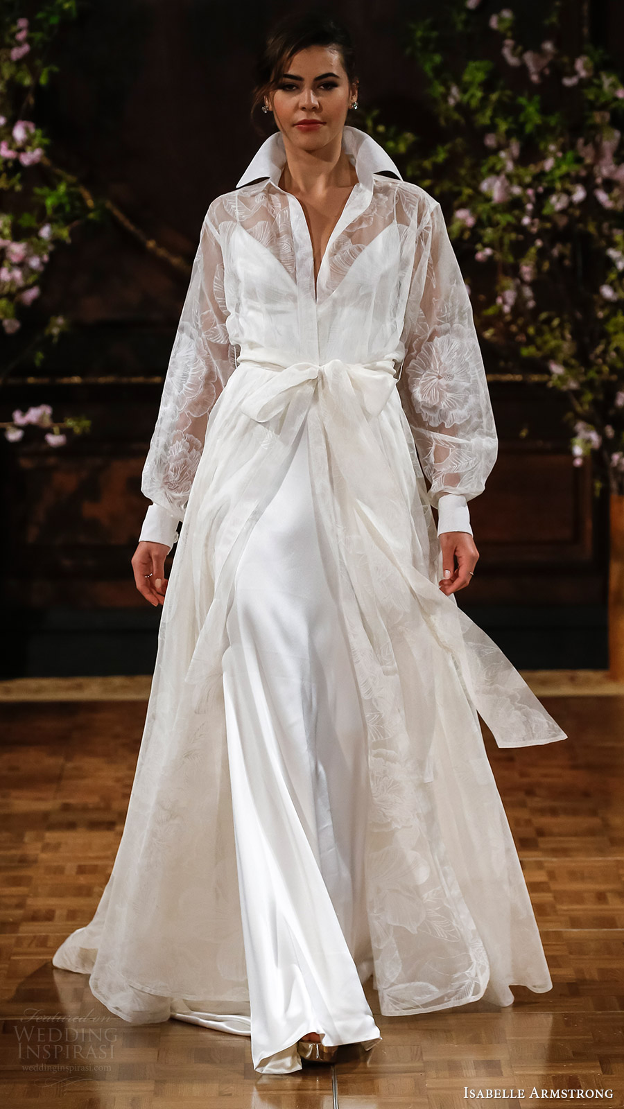 isabelle armstrong bridal spring 2017 sleeveless spaghetti straps vneck aline wedding dress (drew) mv over shirt collar