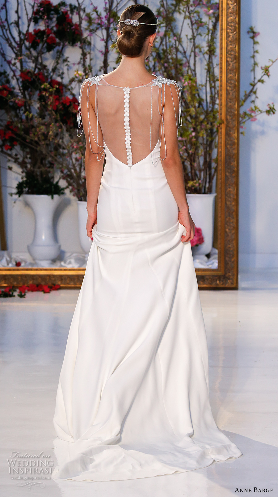 anne barge spring 2017 bridal sleeveless jeweled cap sleeves boat neckline simple chic sheath wedding dress illusion back sweep train (011) bv