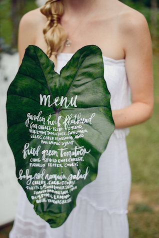 Large calligraphy leaf menu | Alea Moore photography | Burnett's boards