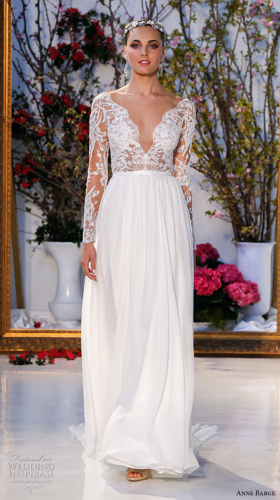 anne barge spring 2017 bridal lace long sleeves plunging v neckline lace embelllished bodice pleated modified a line wedding dress low v back sweep train (024) mv