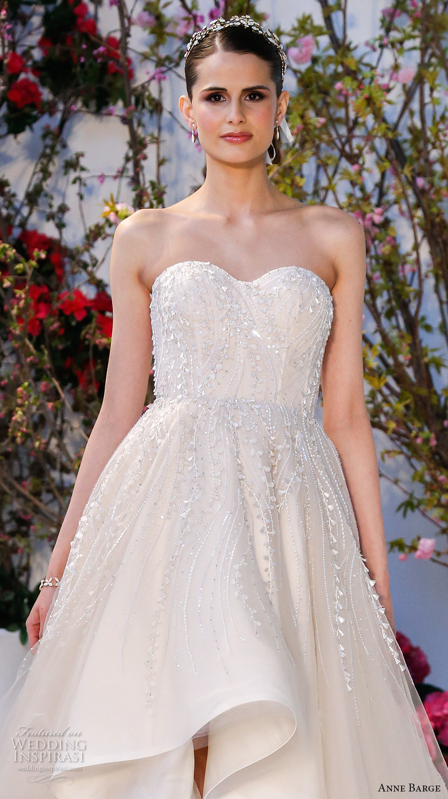anne barge spring 2017 bridal strapless sweetheart neckline embellished bodice pretty princess high low ivory wedding dress (023) zv