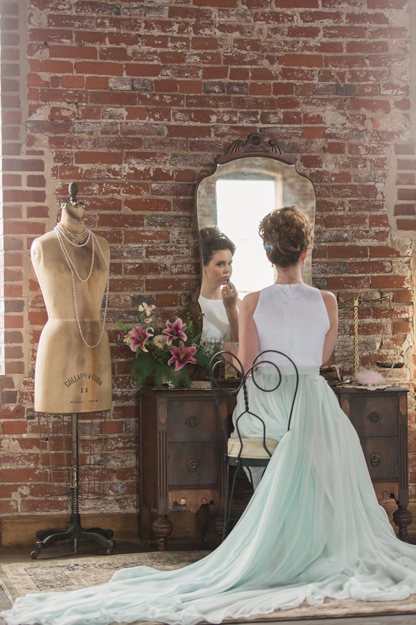 mint green wedding skirt - photo by Jessica Cooper Photography http://ruffledblog.com/sweet-caroline-bridal-collection