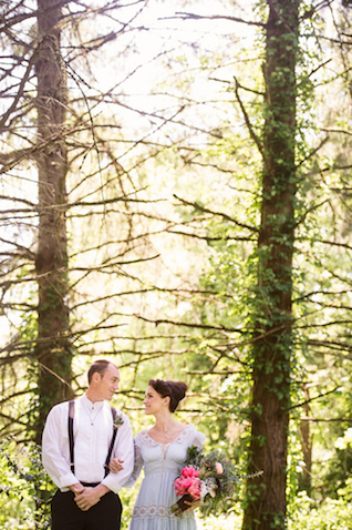 Bride and Groom in woods | Erica Ann Photography | Burnett's Boards