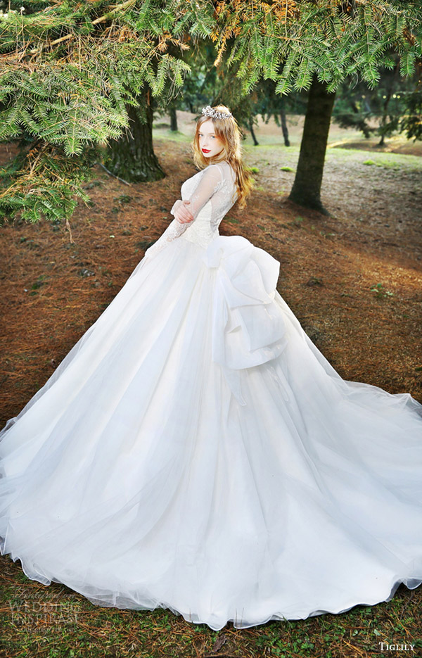 tiglily bridal 2016 long sleeves ball gown wedding dress (fiona) mv romantic elegant train