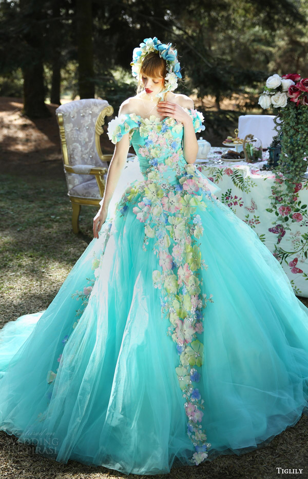 tiglily bridal 2016 off shoulder sweetheart ball gown wedding dress (grace) mv aqua color floral applique romantic fantasy