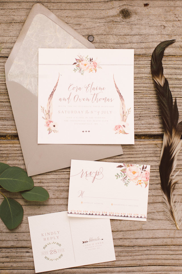 Boho wedding invitation | Photography: Brooke Michelle Photography