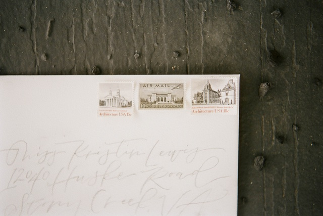 Vintage stamps and calligraphy | Jess Watson Photography