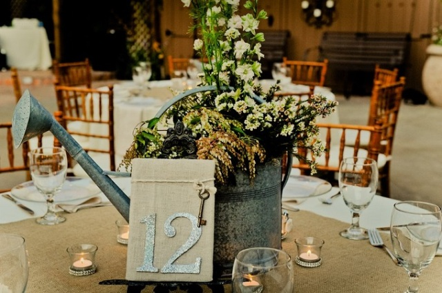 Table numbers with watering can