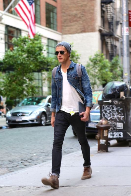 Skinny Jeans With A White Shirt And A Denim Jacket