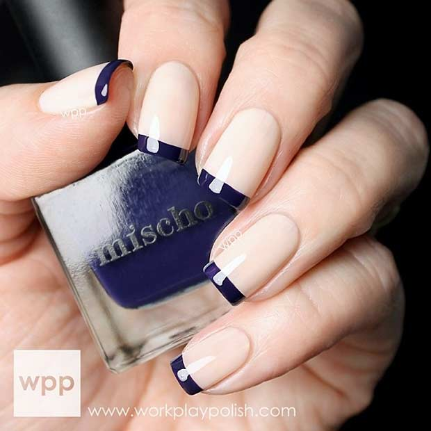 Navy Blue French Tip Nails