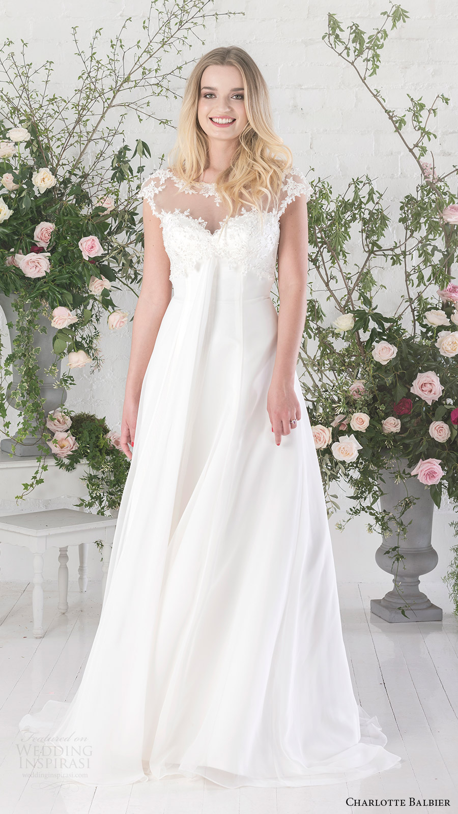 charlotte balbier bridal 2017 cap sleeves illusion bateau neck aline wedding dress (sofia) mv