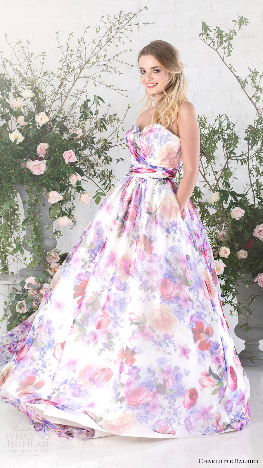charlotte balbier bridal 2017 strapless sweetheart ball gown wedding dress (bloom) mv floral print pockets