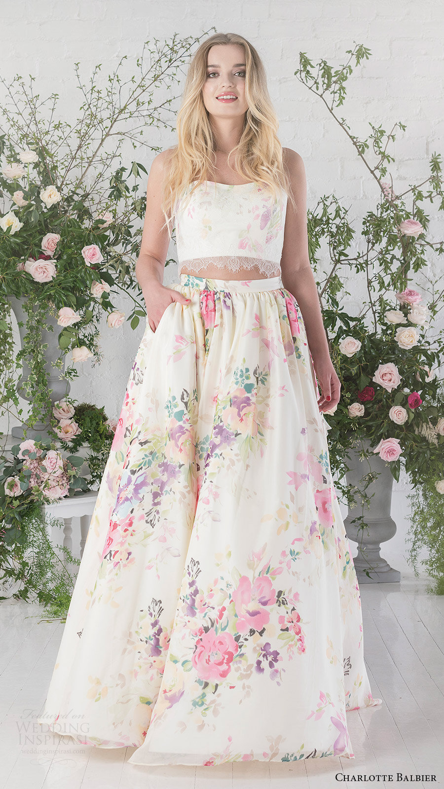charlotte balbier bridal 2017 strapless sweetheart crop top ball gown skirt (posy) fv floral print