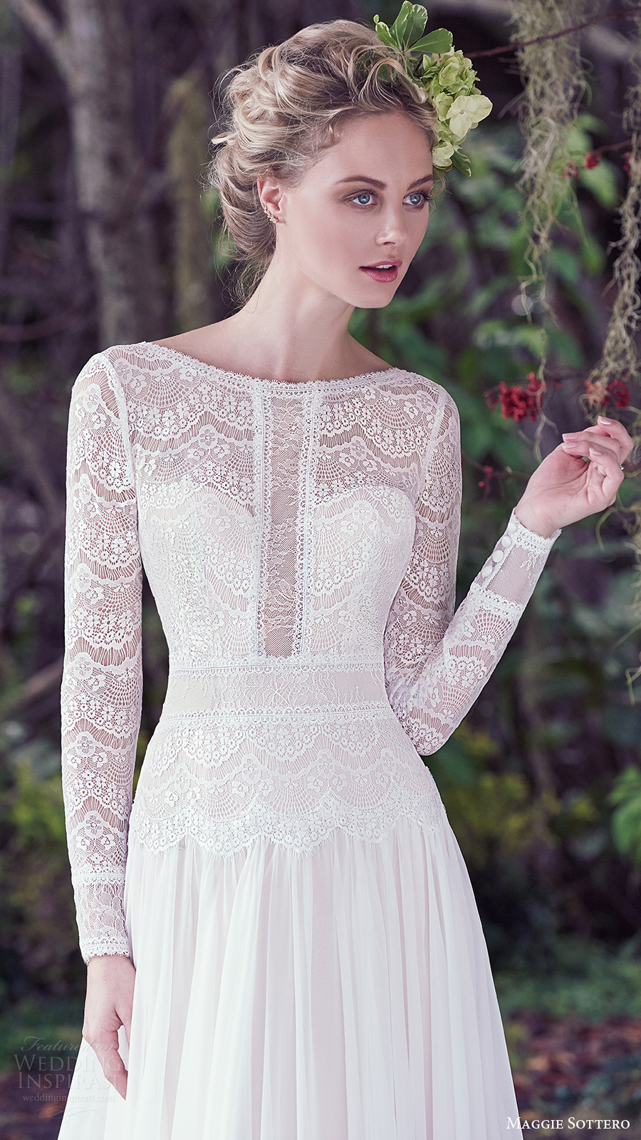 maggie sottero bridal fall 2016 long sleeves bateau neck aline wedding dress (deirdre) zfv lace bodice romantic train