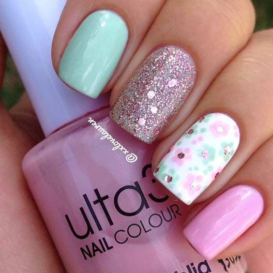 Bright Flower Nail Design for Summer