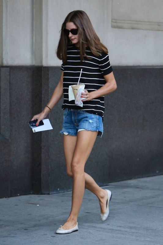 Olivia Palermo Rocks Raw Hem Jean Shorts With A Striped Tee And Flats
