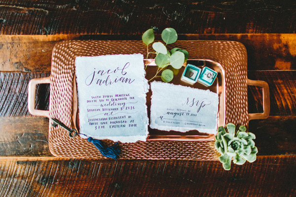 Copper wedding invitations - photo by Giving Tree Photography http://ruffledblog.com/copper-fruit-wedding-inspiration