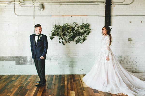 first look - photo by Giving Tree Photography http://ruffledblog.com/copper-fruit-wedding-inspiration
