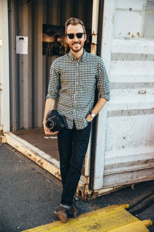 Men's Black and White Gingham Long Sleeve Shirt And Navy Skinny Jeans