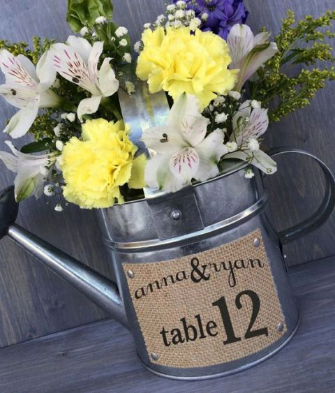 Watering can wedding table number